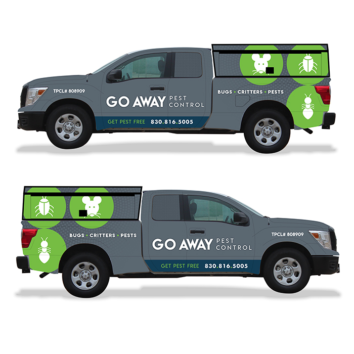 goaway pest control vehicle wrap